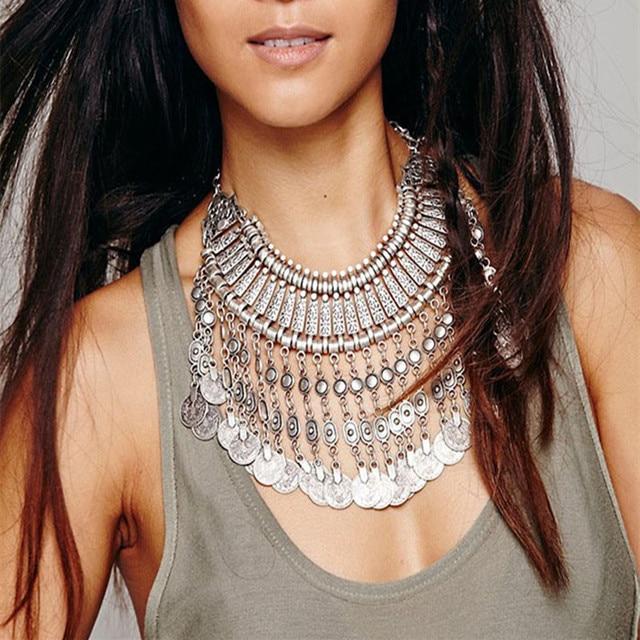 New Vintage American Brand Silver Vintage Round Zinc Coin Tassels Choker statement necklaces & Pendants Collar women Jewelry