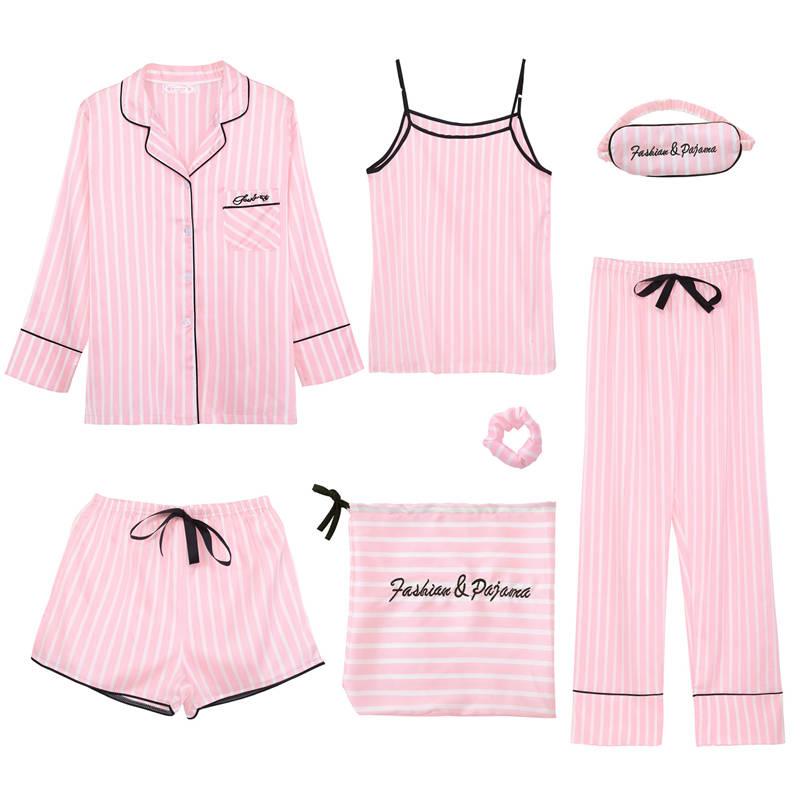 7 Pieces Women Sexy   Pajamas     Set   Robe Pyjamas Short Lingerie Nightwear Autumn Summer Underwear Satin Sleepwear   Pajama   Long Pant