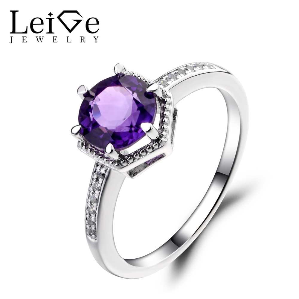 Leige Jewelry Natural Amethyst Ring Round Cut Wedding Engagement Rings for Women Sterling Silver 925 Purple Gemstone Jewelry leige jewelry natural amethyst ring purple gemstone oval shaped wedding engagement rings for women sterling silver 925 jewelry