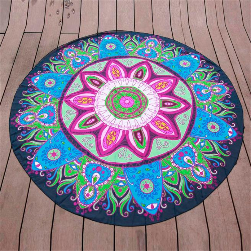 2017 # Durable 2017 HOT Chiffon Mat From India Round Hippie Chiffon Tapestry Beach Throw Towel Mat Bohemian
