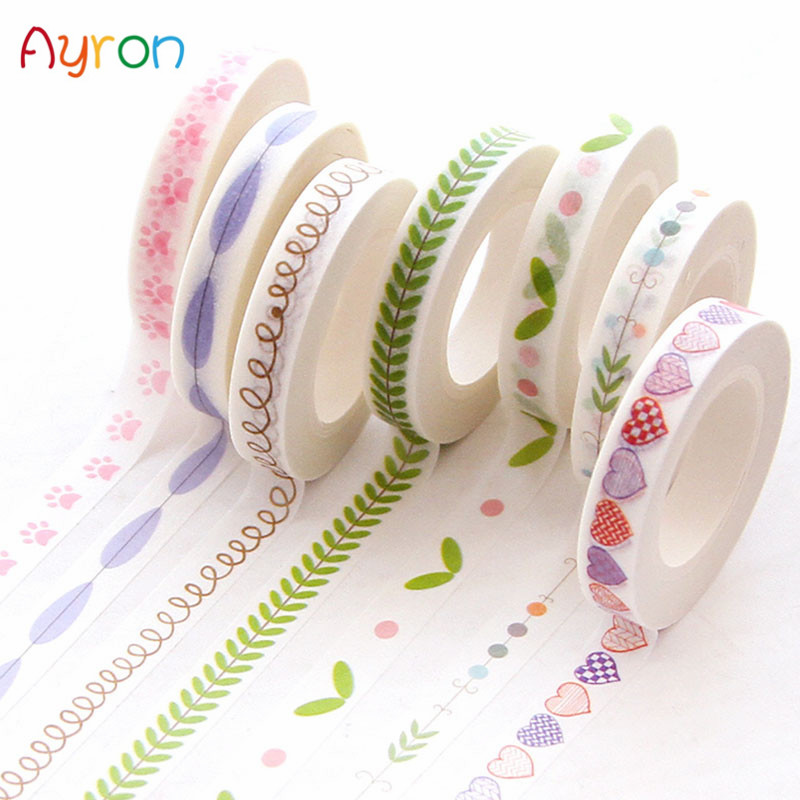1Pcs 7mm X 10m Creative Colorful Flower Plants Decorative Adhesive Tape Masking Washi Tape DIY Scrapbooking Sticker Label School