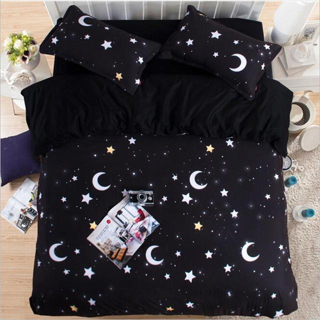 Fabulous Black White Moon and Stars Bedding Set Twin Queen King Size Cotton  QT93
