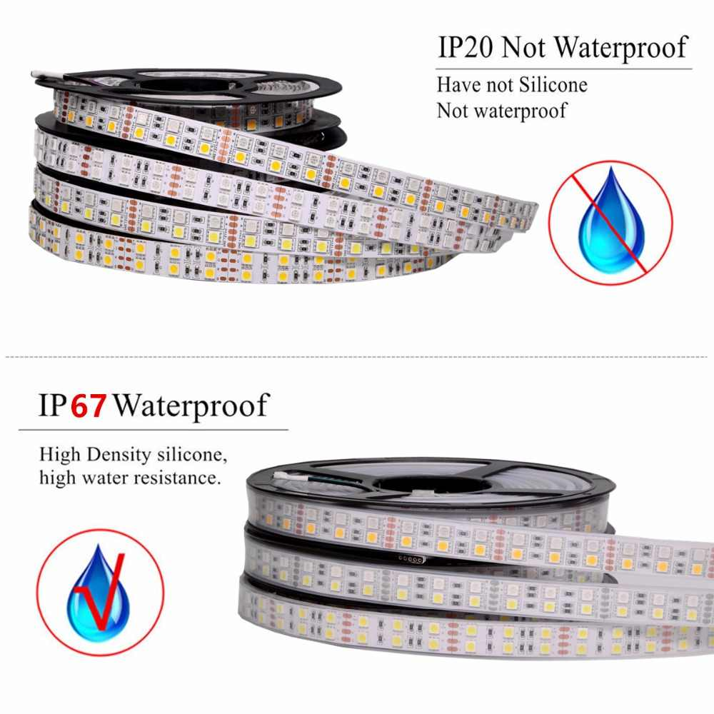 5050 RGB LED bande étanche DC1 2V 120LED s/m noir PCB blanc Double rangée RGBWW RGBW lumière LED bande Flexible néon bande Luz