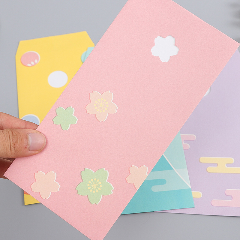 Small Fresh Japanese Hollow Out Romantic Love Letter Envelope Aestheticism Decoration Stationery Greeting Card Accept Pink