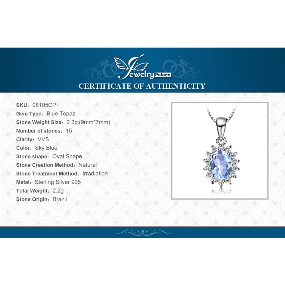 JewelryPalace Princess Diana William Kate 2.3ct Topacio azul natural - Joyas - foto 6