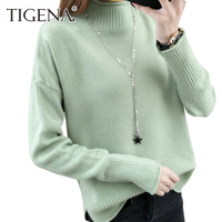 TIGENA 2017 Winter Fashion Thick Warm Women Sweaters And Pullovers Female Knitted Sweater Women Turtleneck Jumper