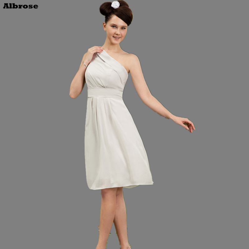 One Shoulder Cheap Simple Bridesmaid Dresses Knee Length