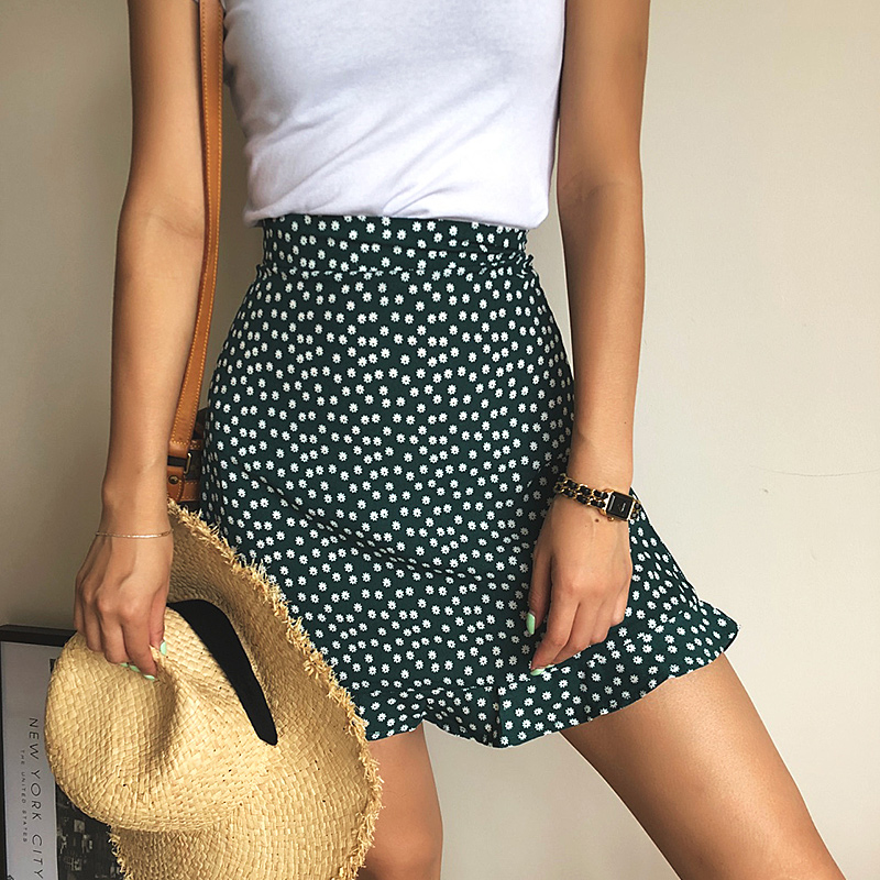Summer female beach boho sexy mini skirt female 19 womens Casual floral Printed ruffles hem High-Waist Skirt skirts for women 4