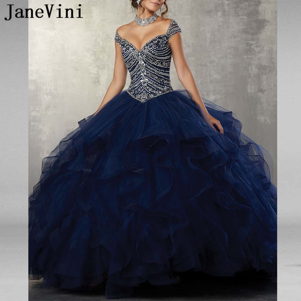 JaneVini 2019 Elegant Navy Blue Quinceanera Dresses Ball Gowns V Neck Heavy Beads Ruffles Puffy Tulle