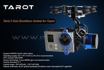 Tarot 2 axes caméra sans balais cardan/support stabilisé TL68A00 FPV GoPro 3 RTF