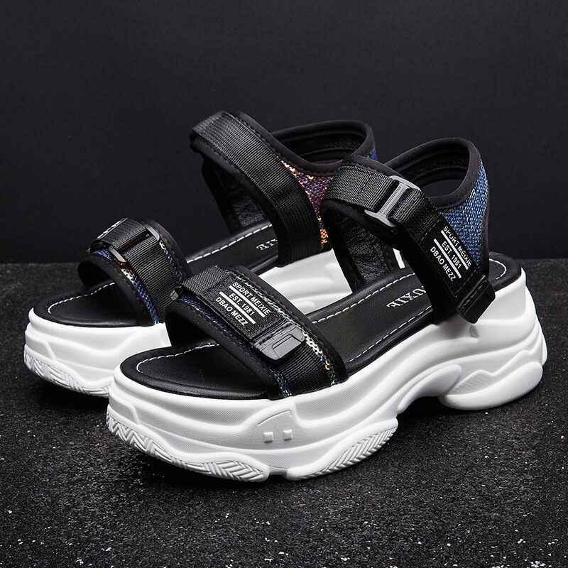 Hot Hoge Hakken 6 CM Sandalen Vrouwelijke Zomer 2019 Vrouwen Dikke Bodem Schoenen Wedge met Open Teen Platform Schoenen Toegenomen schoenen