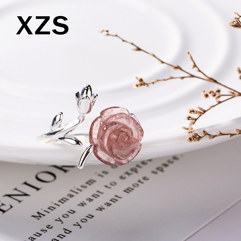 100% Genuine S925 Sterling Silver Chinese Style Strawberry Quartz Rings Women Luxury Valentine's Day Gift Jewelry JZCN-18029