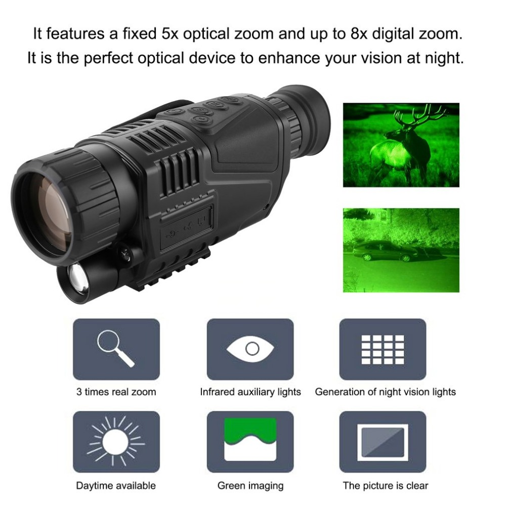 купить Night-Vision Monocular Tactical Infrared Night Vision Telescope Military HD Digital Monocular Telescope Night Time Navigation дешево