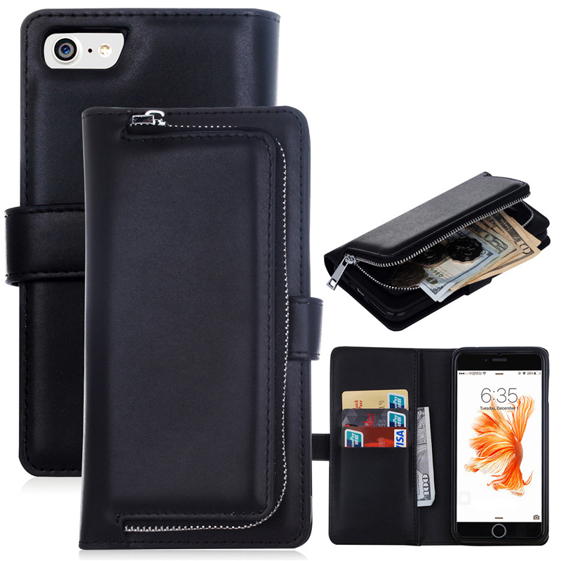 Card Women For Iphone 8 Plus Case Luxury Flip Cover For Iphone 7 Case Leather Logo Mobile Phone Bags Cases