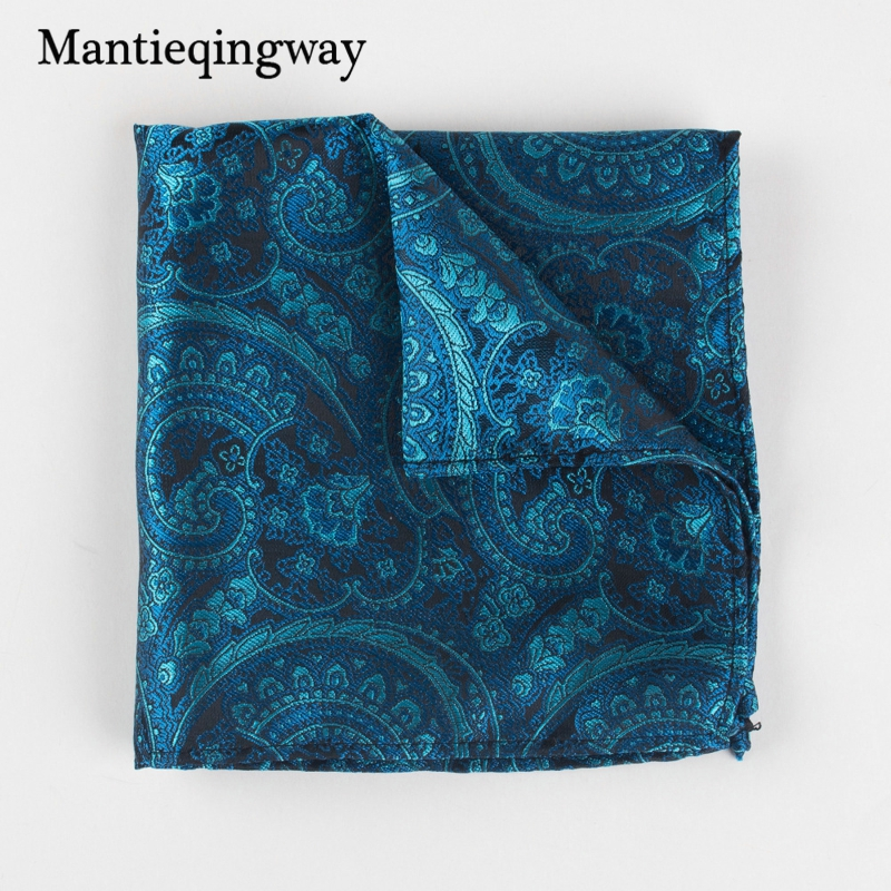 Mantieqingway Causal 25*25cm Polyester Men Pocket Square For Wedding Business Handkerchief For Men Suits Party Chest Towel Hanky