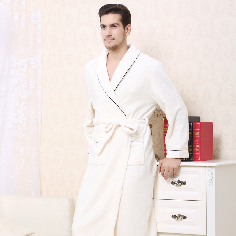 Warm Kimono Robe Winter Bathrobe Men Super Soft Flannel Coral Fleece Long Bath Robes Mens Kimono Sleepwear Male Dressing Gown