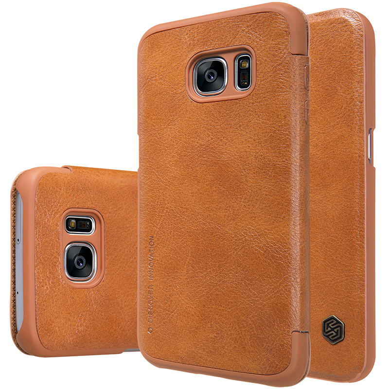 Original NILLKIN Qin Series Genuine Leather Smart Flip Phone Case Cover for Samsung Galaxy S7 G930