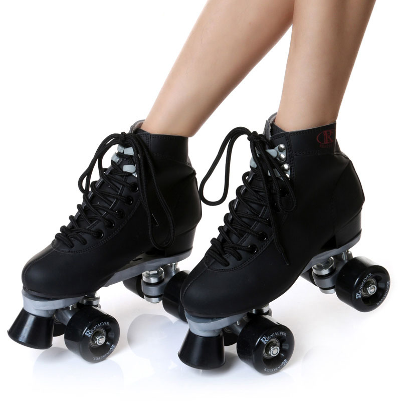 LK714 Double-row Lace-up Skating Shoes Wear-resistant PU Four Wheel Roller Skating Shoes Adult Men and Women Skates Size 35-42 girls and ladies favorite white roller skates with full grain genuine leather dual lane roller skate shoes for adult skating