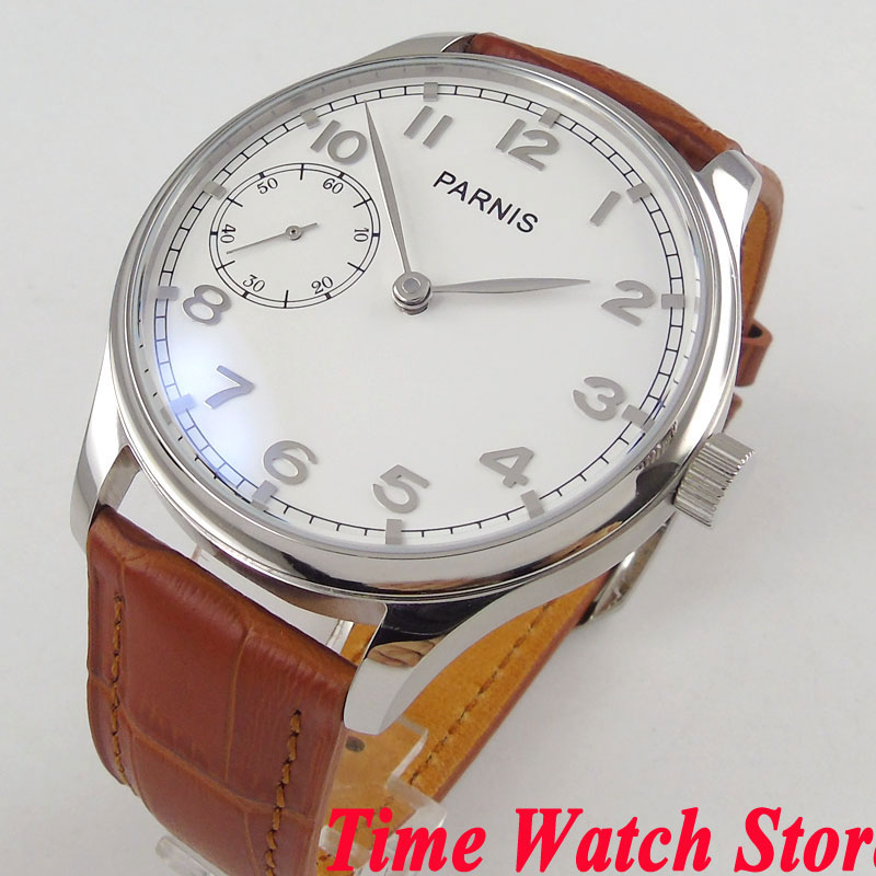 44mm Parnis mechanical mens watch white dial silver hands 17 jewels 6497 hand winding movement wrist watch men 2844mm Parnis mechanical mens watch white dial silver hands 17 jewels 6497 hand winding movement wrist watch men 28