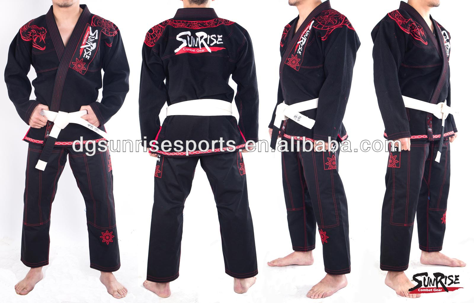 Free Shipping Brazilian Jiu Jitsu Gi 100% Preshrunk Cotton Pearl Weave BJJ Gi Kimonos - Black