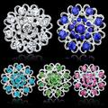 2016 Hot Selling Rhinestone Crystal Brooch Hollow Out Collar Pin Silver Plated Flower Jewelry Gift For Women Grils