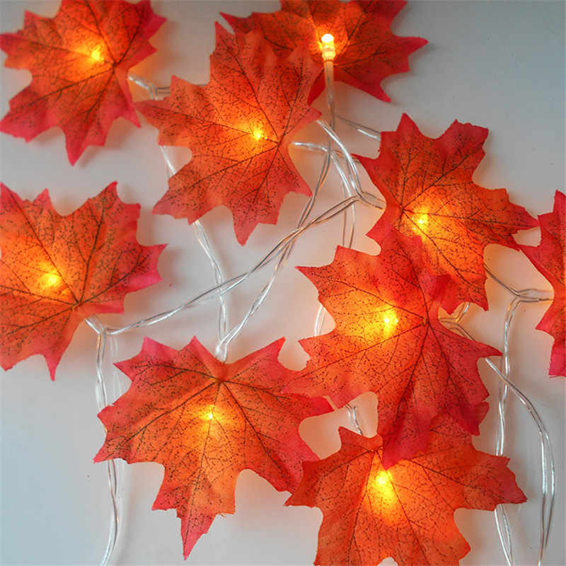 4 Sizes Maple Leaves LED String Light AA Battery Operated Autumn Stair Garden Led Lights Christmas Tree Decoration Lighting