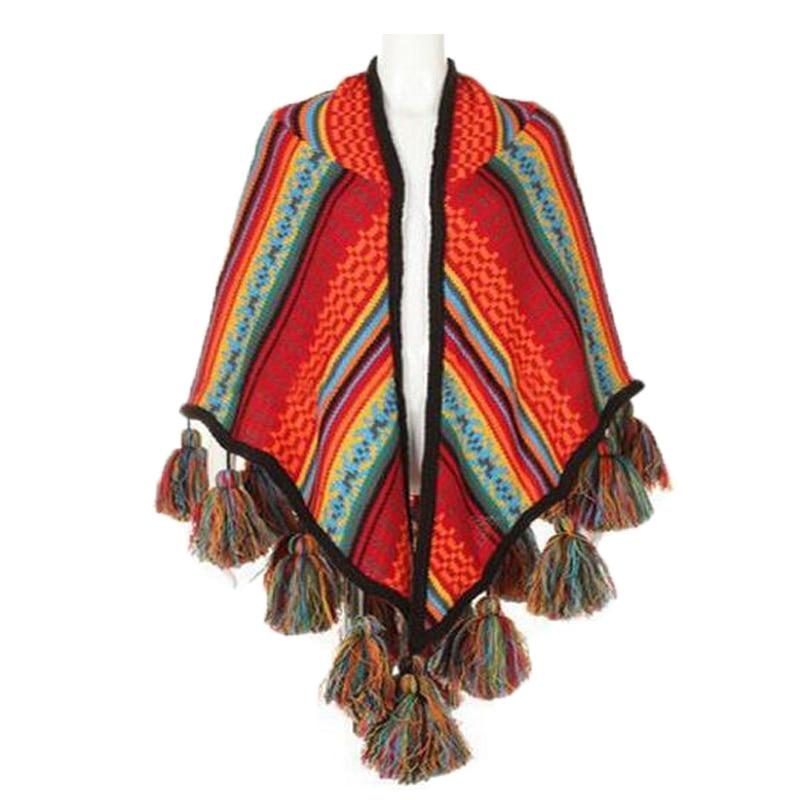 Téli nők kendő felsőruházat Kabát sálak Boho kardigán Kötött Poncho sapkák laza sál tekercsek címerrel