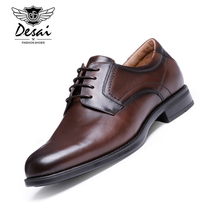 DESAI Brand Cowhide Leather font b Oxford b font Shoes For Men Lace Up Thick Heel