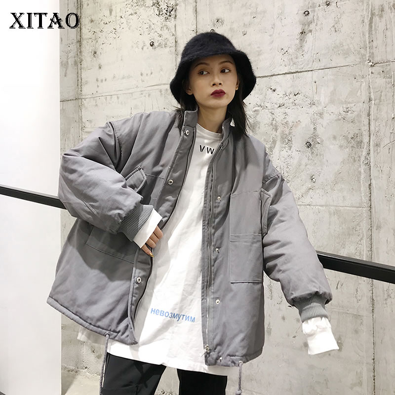 [XITAO] Winter Spring Fashion Women Full Sleeve Stand Collar Loose Coat Female Solid Color Pocket Single Breasted   Parka   WBB1237