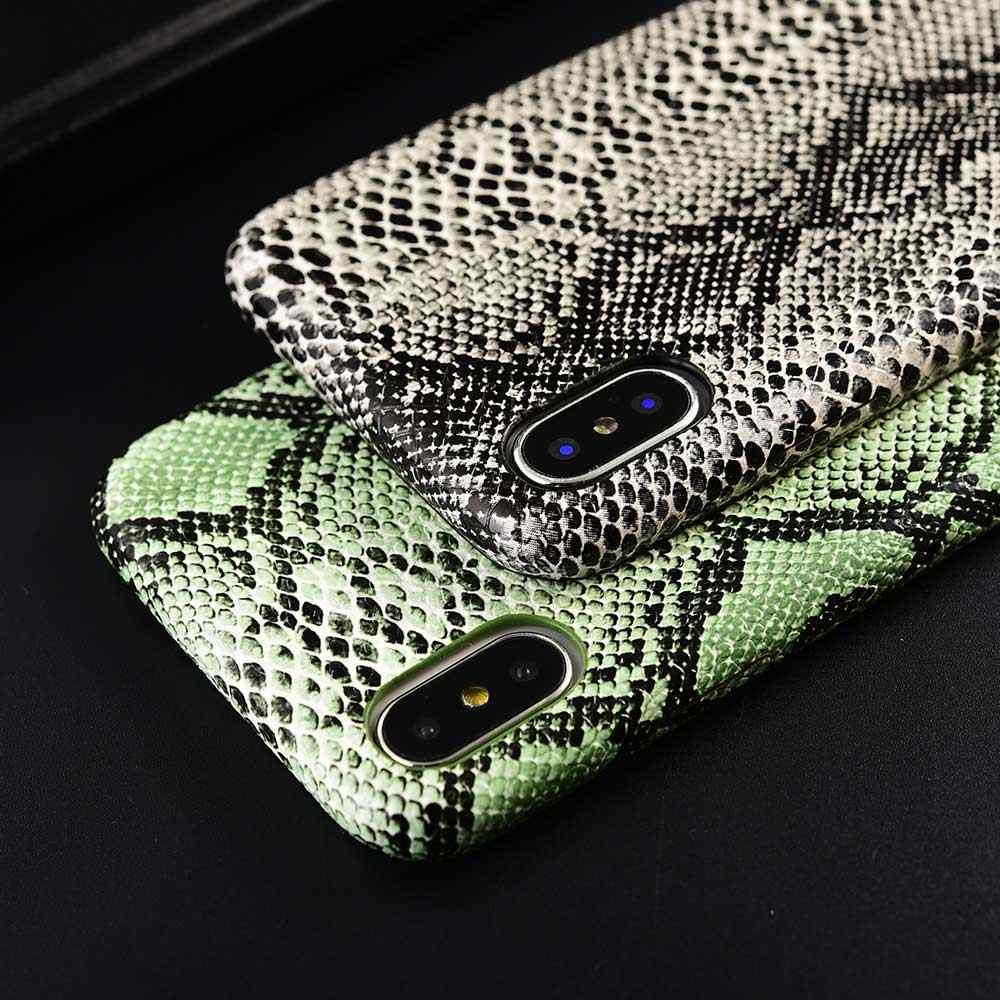 Boucho Kulit PU Pola Phone Case untuk iPhone XR X Max X 8 PLUS Case Kulit Ular Soft Back Cover untuk iPhone 8 7 6 6S Plus Case