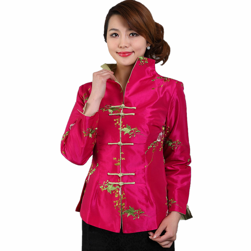 fe68b9a26 Hot Pink Chinese Women Traditional Embroidery Jacket Silk Satin Coat Autumn  New Outwear Floral S M L XL XXL XXXL M-12