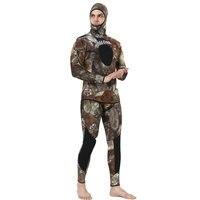 Камуфляж подводной охоты гидрокостюм 5 мм неопрена с капюшоном Дайвинг костюм для мужские и женские костюмы для серфинга всего тела