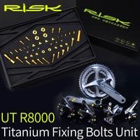 RISK 49pcs/set Titanium Alloy TC4 C Caliper+Brake+Front&Rear Derailleurs Bolts Screw for Shimano Ultegra R8000 Road Bike Bicycle