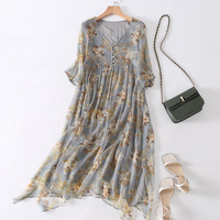 silk floral dress summer maxi women beach 2018 dresses long plus size boho sexy bandage party casual elegant loose grey flower V