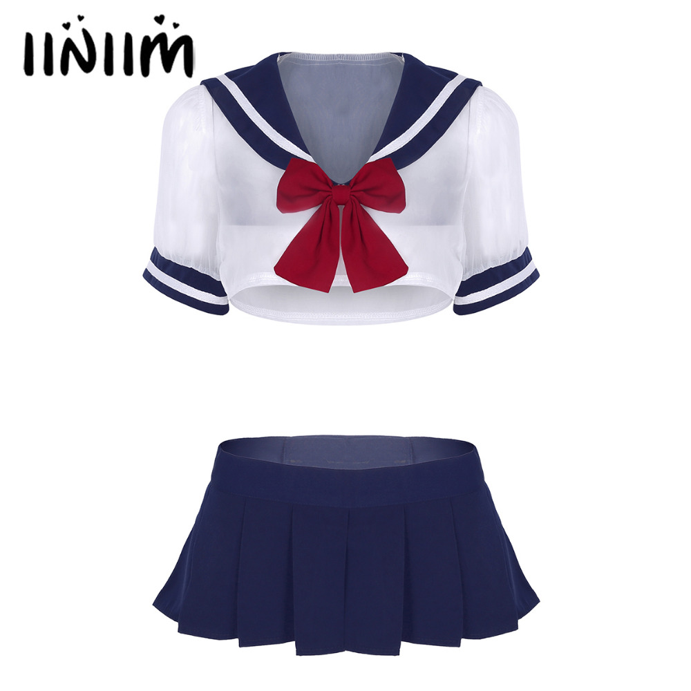 3Pcs Women Adult Cute Sailor School Student Cosplay Sexy Costume Uniforms Short Sleeve Sheer Crop Tops with Pleated Mini Skirt