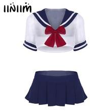 2630d4a597 3Pcs Women Adult Cute Sailor School Student Cosplay Sexy Costume Uniforms  Short Sleeve Sheer Crop Tops