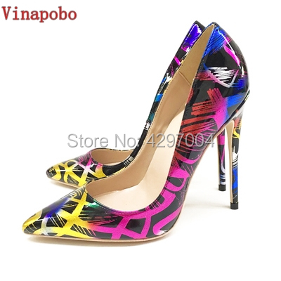 2019 New fashion woman shoes printing party high heels wedding shoes big size 35 43 sexy