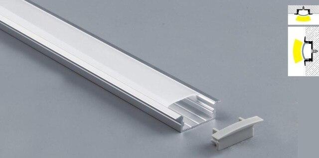 شحن مجاني شكل مسطح led الشخصي فتحة الألومنيوم 2 متر/القطعة طول مع غطاء وغطاء نهاية للضوء led قطاع