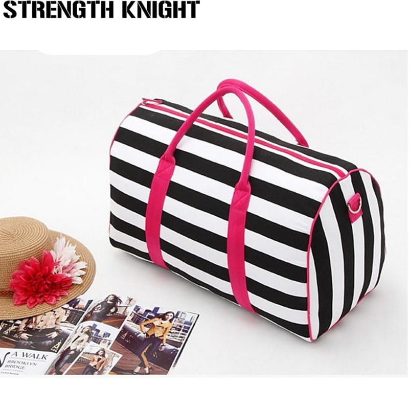 2019 women brands handbags Travel duffle crossbody bag casual women messenger bags victoria stripe beach bag sac a main femme in Top Handle Bags from Luggage Bags
