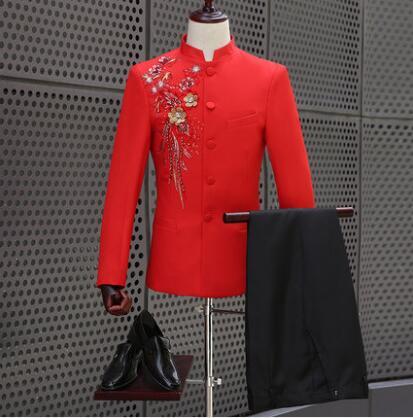 Style chinois slim chinois tunique costumes hommes costume rouge ensemble avec pantalon hommes costumes de mariage robe formelle hommes costume de marié + pantalon 2XL
