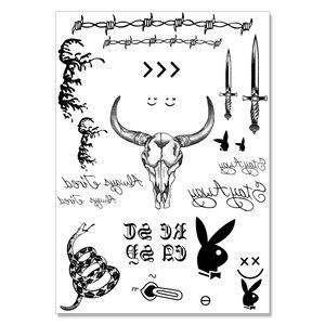 Image 2 - Nu TATY yeni sıcak Post Malone yüz dövme etiket cadılar bayramı yüz etiket su geçirmez dövme etiket aracı