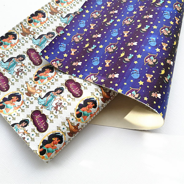 Free Shipping 20*33cm Cartoon Line Print Synthetic Leather Fabric For DIY Accessories BHY325