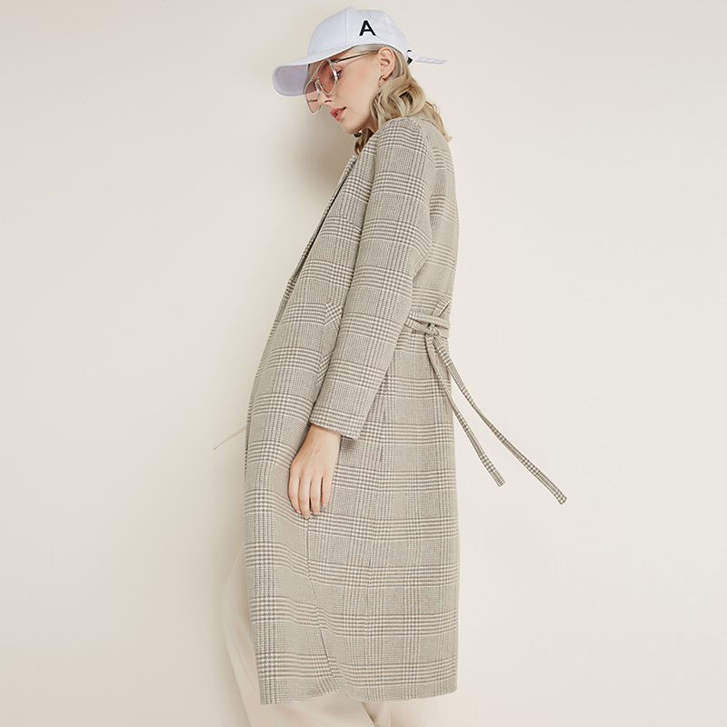 jacket women's wool blend coat korean Belt coat pocket long female cashmere coat Button winter woman 2018 plus size plaid coat