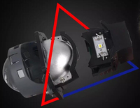 DLAND OWN LDE 3 BI LED PROJECTOR LENS KIT WITH BULB REPLACEABLE, 35W POWER WITH HELLA3 MOUNING AND EXCELLENT LOW BEAM