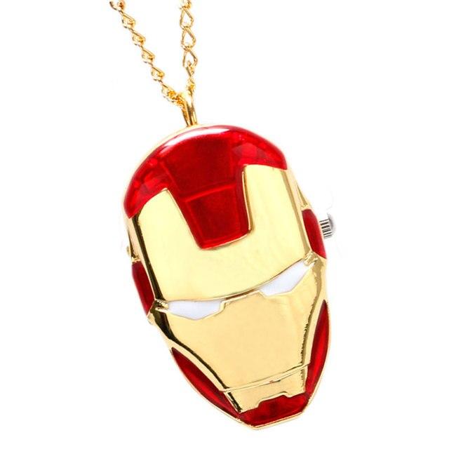 Superhero Pocket Watch Marvel Iron Man Golden Case Slim Chain Unique Boys Girls