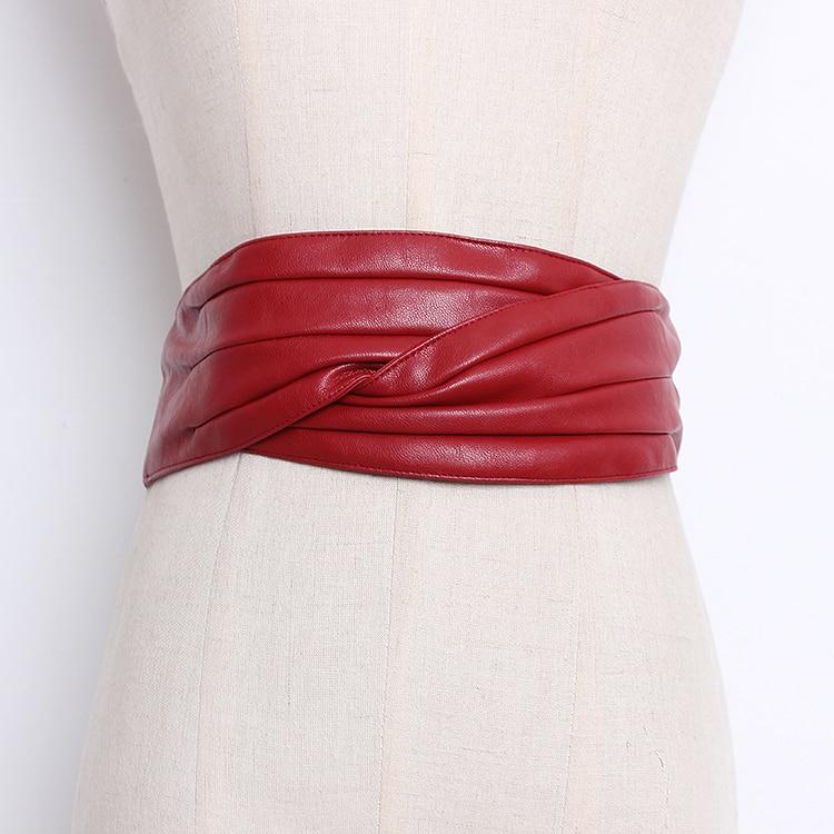 Women's Runway Fashion Pu Leather Cummerbunds Female Dress Corsets Waistband Belts Decoration Wide Belt R096