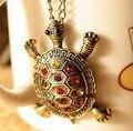 Envío Gratis VENTA CALIENTE de La Manera joyería de la vendimia rhinestone collar pequeña tortuga colgante largo collares mujeres suéter cadena