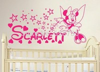 Free Shipping DIY Minnie Mouse Vinyl Decal Sticker Minnie Mouse Personalized Name For Baby Girl Nursery
