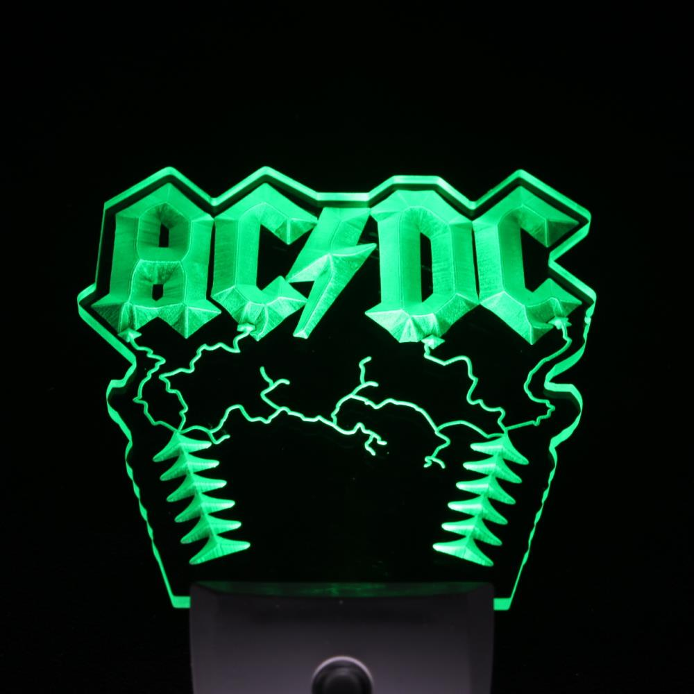 ws0062 ACDC AC/DC Rock n Roll Bar Day/ Night Sensor Led Night Light Sign ...