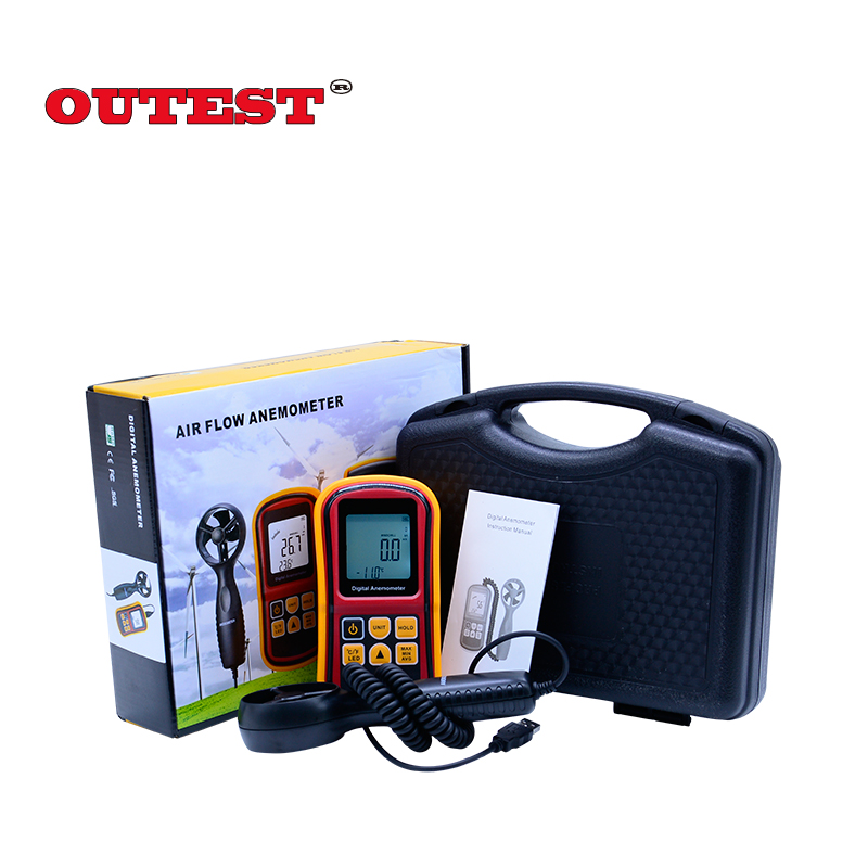OUTEST GM8901 45m/s (88MPH) LCD Digital Hand-held Wind Speed Gauge Meter Measure Anemometer Thermometer with Carry box benetech digital film coating thickness gauge 0 1800um 0 01mm resolutiongm210 digital paint film iron base thickness gauge meter
